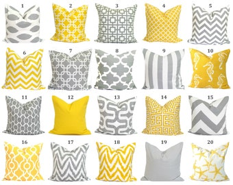 PILLOWS.Pillow Covers.Decorative Pillow Cushions.Home Decor.Grey.Yellow.Pillow Cover.Euro.Cushions.Home Decor.Best Selling Pillows.ALL SIZES