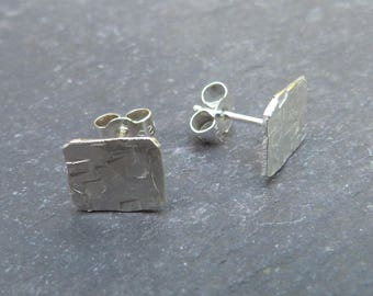 Silver squares - textured sterling silver ear studs - 8.5mm squares - plain silver studs - uk