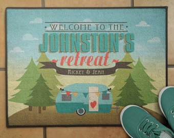 """18""""x 24"""" Personalized Floor Rug, Personalized Pine Tree RV Camper Welcome Mat, Camping Decor, RV Decor, Glamping Floor Mat"""