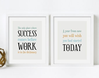 Framed Quotes, Framed Prints, Office Decor, Framed Wall Art, Inspirational Quote Print, Motivational Wall Decor, Set of 2 Prints, Framed Art