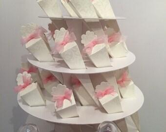 Biodegradable Confetti, Ivory Confetti Cones, Ribbon & Stand , DIY Kit - Diamante Cones Wedding Confetti Bar