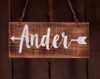 Child Name with Arrow wood sign