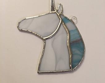 Unicorn Horse Suncatcher - Country Stained Glass Festive Tree Ornament Decoration