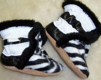 Winter baby booties leather zebra prints- girl winter booties - baby girl leather  booties