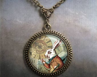White Rabbit necklace, Alice jewelry Alice in Wonderland jewelry Wonderland necklace Steampunk White Rabbit Wonderland necklace clocks