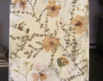 Pressed flower art, Encaustic art,  small painting, wax art, wax collage, beeswax collage, flower art