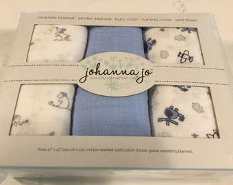 Swaddle Blankets Boxed Set of Three