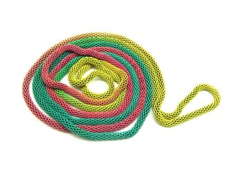 1 braided 1.18 m gradient pink green yellow - Metal chain necklace
