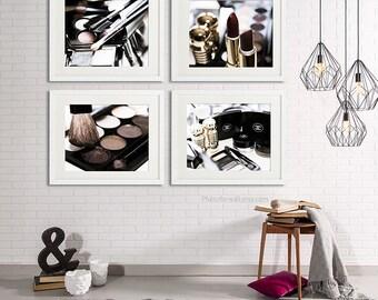 Chanel decor/boho copper decor/Bathroom wall Decor/gift for boho wife/Luxury wall decor/chanel Bathroom set/boho decor/makeup print brushes