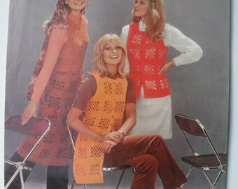 Vintage 1970s Crochet Pattern - Women's Waistcoat in Three Lengths 70s original pattern - retro women's long jerkin gilet Patons No. 2058 UK