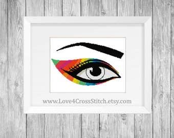 Rainbow Eye Cross Stitch Pattern Modern, PDF Pattern, Eye Cross Stitch, Abstract Eye Cross Stitch, Rainbow Cross Stitch, Easy Cross Stitch