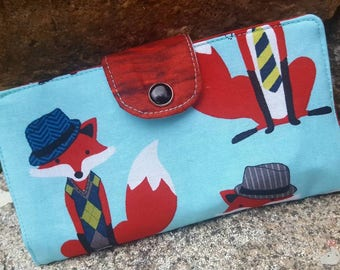 Fox Checkbook Cover, Coupon Wallet, Fox Fabric Checkbook, Fox gift, Fox Billfold