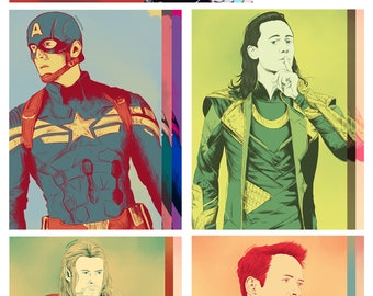 Marvel (Bucky Barnes / Winter Soldier, Steve Rogers / Captain America, Loki, Thor, Tony Stark / Iron Man) - A6 / Postcard Prints