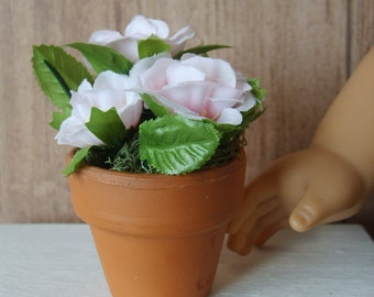 Pink Roses Potted Plant for American Girl Dollhouses, Photography Prop, Houseplant, Room Decor