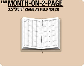 MO2P January to December 2018 / Field Notes size month-on-2-page - Traveler's Notebook Printable