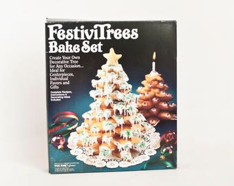 Vintage FestiviTrees Bake Set, Christmas Tree Cookie Centerpiece Baking Kit, NEW in Box