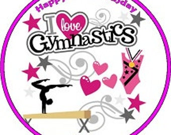 """Gymnastics Personalised Pre Cut Icing/Rice Paper Cake Topper 7.5"""""""