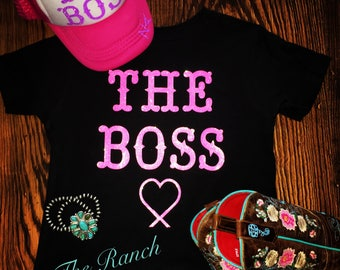 Baby onesie (The Boss) with personalized ranch brand