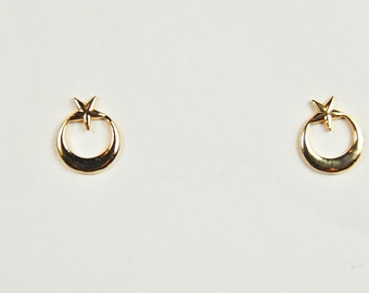 14 kt Yellow Gold Moon and Star Earrings