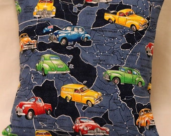 Cushion Cover, 14in Square Cushion Cover, Pillow Cover, Throw Pillow Cover, Vintage Car Themed Cushion Cover