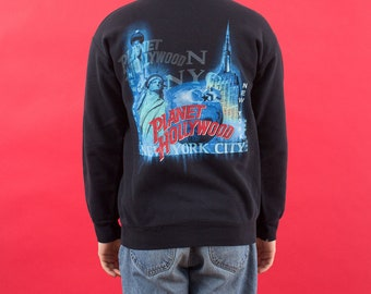 Vintage 90s, Planet Hollywood, 90s Clothing, New York City, Vintage Sweatshirt, New York, Black Sweatshirt, NYC, 90s, Empire State, Spring