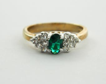 Simulated Oval Emerald Ring with CZ accents - VGE317