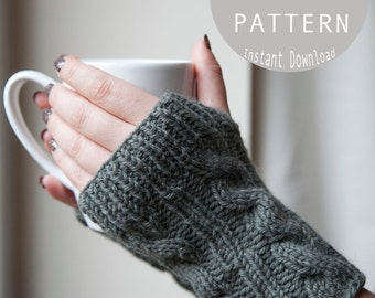 Knitting Pattern for Cable Fingerless Gloves / TriKar Pattern