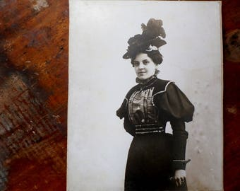 Antique Photograph, Victorian Woman in Beautiful Hat