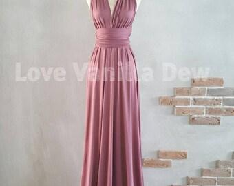 Bridesmaid Dress Infinity Dress Plum Floor Length Maxi Wrap Convertible Dress Wedding Dress