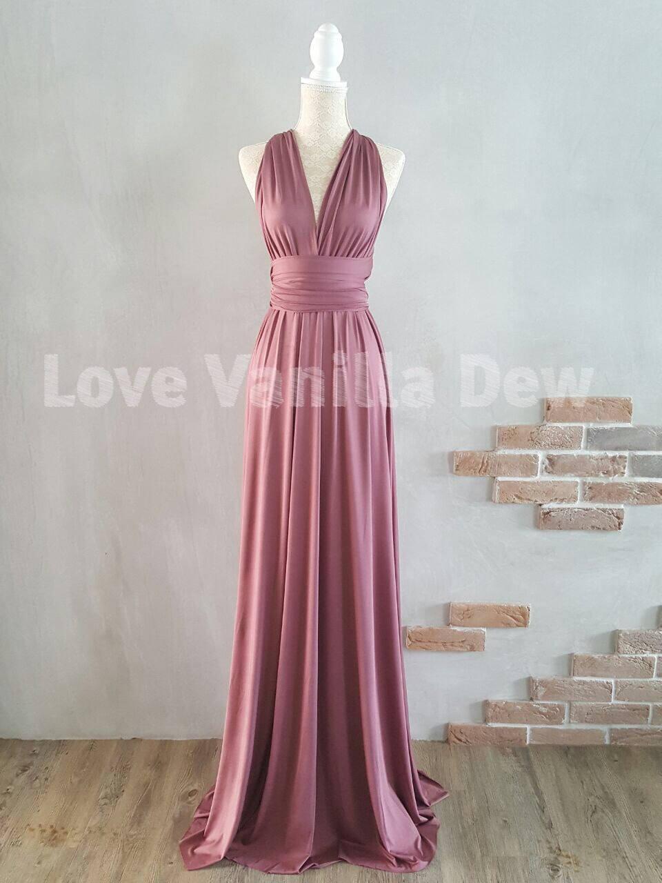 Brautjungfer Kleid Infinity Kleid Pflaume Bodenlanges Maxi