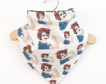 Rosie the Riveter, Baby Bib, Bandana Bib, Organic Cotton Bib