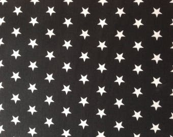 Cotton fabric printed white stars, price is for 50 cm
