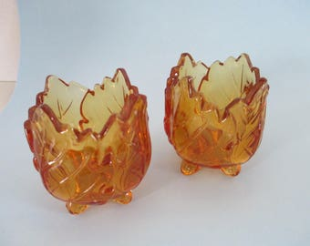 Vintage set of 2 Candle holder amber footed leaf votive candle holders used good condition