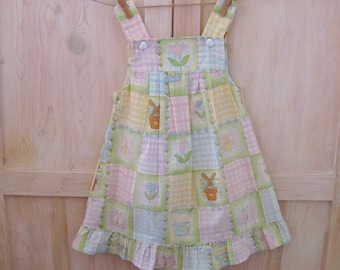 Girl's Easter Dress 3T 4T, Vintage Girl's Spring Dress, Girl's Pastel Patchwork Checkered Bunny Dress, 3 Year Old Dress Toddler Girl Clothes