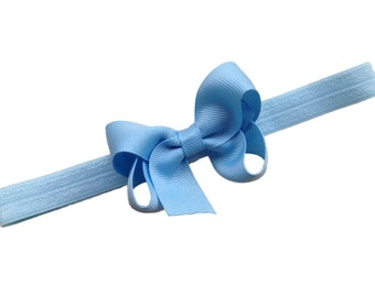 Light blue baby headband - light blue bow headband, newborn headband, baby bow headband, baby girl, baby headbands, baby bows, hair bows