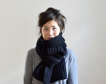 Chunky Knit Scarf, Oversized Knit Scarf, Black Knit Scarf, Black Long Scarf