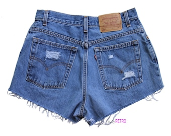 Distressed Vintage High Waisted Levis Cut Off Shorts 550 Size 12M 30 Waist