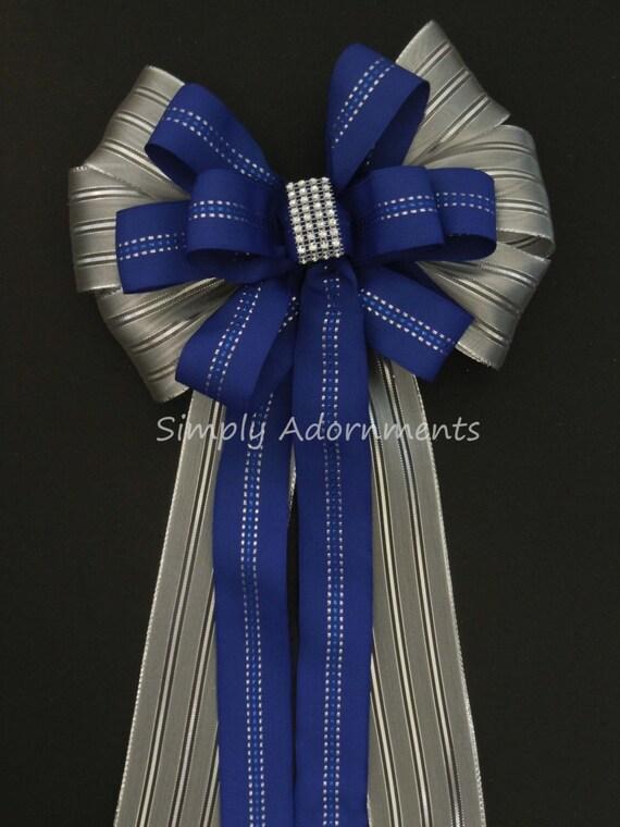 Blue Silver Wedding pew bow Wreath bow Royal Blue Silver Ceremony Decor Royal / Cobalt Blue Silver Chair Bow Church wedding Aisle Pew Bow
