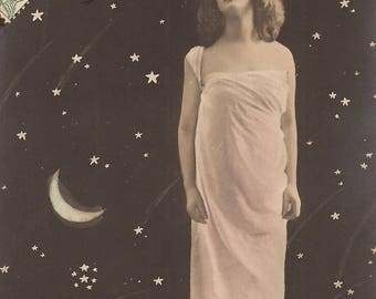 The Cosmic Goddess… 1900s Original Antique French Hand Tinted RARE Photo Postcard Illustrated by E.Wahlin… Galactic Nymph Woman Fantasy