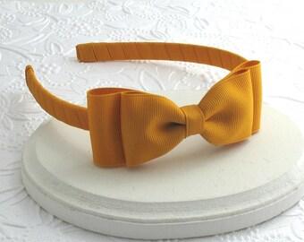 Mustard Bow Headband, Toddler Headband, Girls Fall Hair Bows / Adults Bow on Hard Headband, Mustard Hair Bow Headband