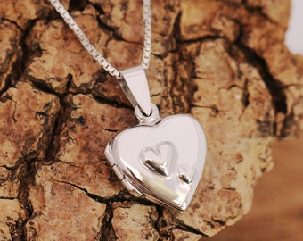 Sterling Silver Heart Locket Necklace, 2 Hearts Domed, Silver Heart Locket, Anniversary Gift, Gift for Mother/Daughter, Gift for Her