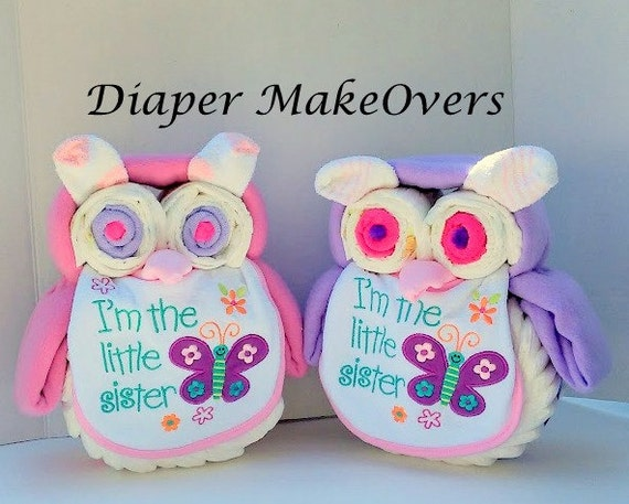 Twin Girls Owl Diaper Cake Unique Baby Shower Gift