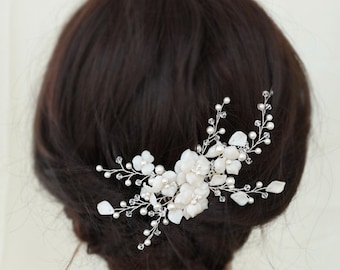 Flowers Wedding Hair Combs, Bridal Headpieces, Pearl Bridal Hair Accessories, Bridal Hair Vine, Wedding Headpieces for Brides