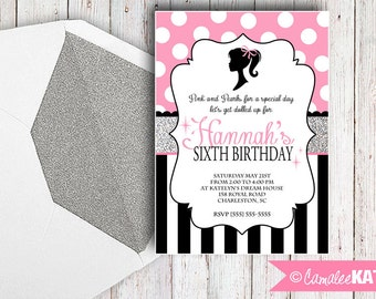 Classic Doll Birthday Invitation - Printable file - Pink Polka dots, Black, White & Silver Glitter - Personalized - Girls Birthday Party