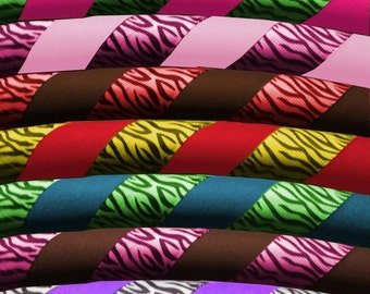 Custom Zebra Print Hula Hoop Dance & Exercise Hula Hoop COLLAPSIBLE or Push Button - ribbon animal pattern