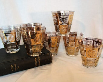 Georges Briard Signed On The Rocks Bar Ware / Gold Gilded 22K Glasses Set of 7 / Golden Celeste Bar Ware
