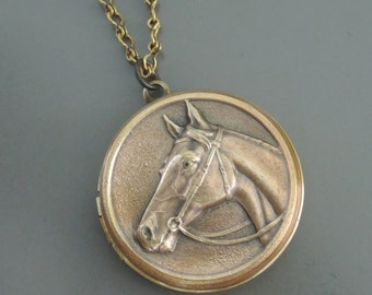 Locket Necklace - Horse Locket - Horse Jewelry - Horse Necklace - Vintage Brass jewelry - handmade jewelry