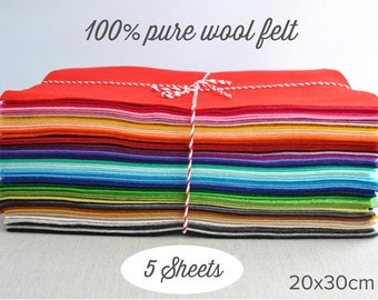 """100% wool felt sheets - 20x30cm (8x12""""), choose 5 colours  - pure merino wool felt"""