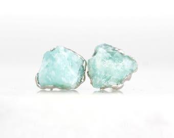 amazonite studs   raw amazonite earrings   jade studs   turquoise studs   crystal stud earrings   natural stone studs   raw gemstone studs