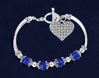 12 Autism Puzzle Piece Heart Partial Beaded Bracelets (12 Bracelets) (BL-94-2)
